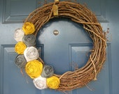 Made to Order - The Daphne - Fabric Rose Grapevine Wreath - 18 inch