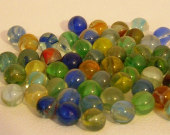 Lot of 56 Vintage Glass Cats Eye Marbles Circa 1940 and 1950