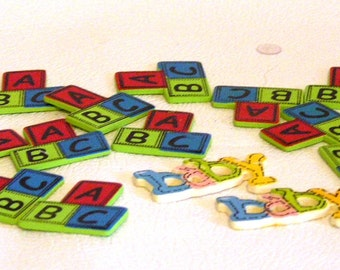 Finished Wooden ABC Blocks and Baby Cut Outs Craft Supplies
