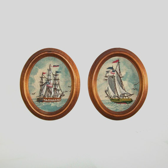 Vintage SAILBOAT Set of  2 Embroidered Pictures