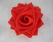 St. Valentine's Day 3 Red Satin Roses - 3 inches big