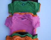 Hand Dyed Onesies in Brown, Green, Orange & Pink - Short Sleeve