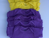 Hand Dyed Onesies in Yellow & Purple - Short Sleeve