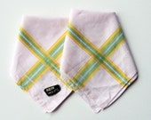 Sunshine Bordered Pale Pink Handkerchiefs or Pocket Squares (Set of Two)