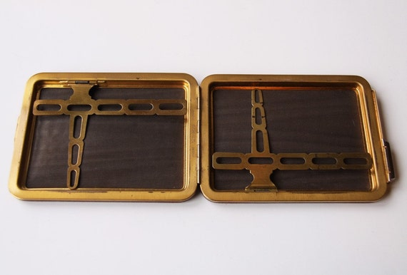 Bond Brown Leather and Brass Lin Bren Cigarette Case
