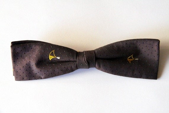 Muir Brown on Brown Polka Dots Clip On Bow Tie