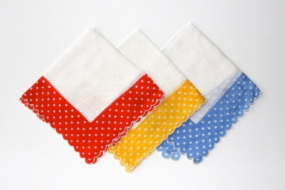 Itsy Bitsy Red, Yellow, and Blue Polka Dot Handkerchiefs or Pocket Squares (Set of Three)