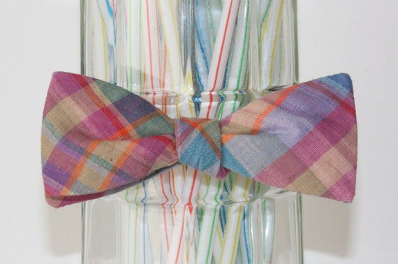 Springtime Madras Plaid Self Tie Bow Tie