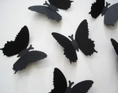 50 Medium Royal Black Butterfly punch confetti die cut cutout embellishments  - No364