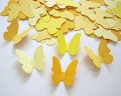 50 Medium mixed yellow butterfly punch die cut cutouts confetti embellishments - No800