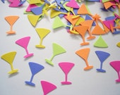 100 Bright Colors Cocktail Martini Glass punch die cut cutout confetti scrapbooking embellishments - No528