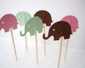24 Decorative pink green brown elephant toothpicks party picks food picks cupcake toppers - No867