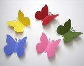 50 Large yellow pink blue green red butterfly punch die cut cutout scrapbooking embellishments - No456