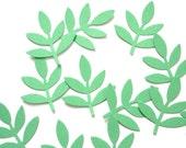 50 Green Frond Fern Leaf punch die cut confetti scrapbooking embellishments - No156