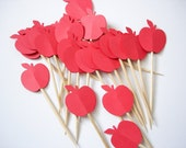 24 Decorative Red Apple Party Picks - Toothpicks - Cupcake Toppers - Food Picks - No325