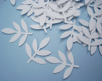 50 White Frond Fern Leaf confetti - No182