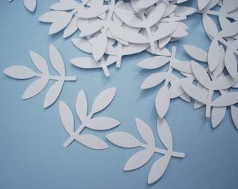 50 White Frond Fern Leaf punch die cut confetti cutout embellishments - No182