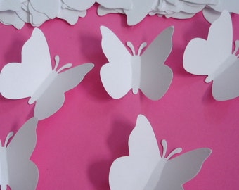 50 White Butterfly Confetti, Wedding Party Decorations, Butterfly Wall Art - LB000