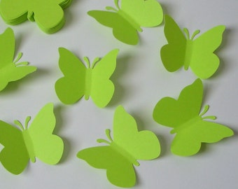 50 Large bright green butterfly punch die cut cutout confetti scrapbooking embellishments - No350