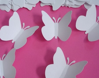 200 Large White Wedding Butterfly punch die cut cutout scrapbooking embellishments - LB000
