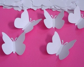 75 Large Wedding White Butterfly Punch, Confetti, Die Cut, Cutout, Tag, Embellishments - LB000