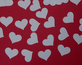 100 White heart punch die cut confetti cutout scrapbooking embellishments - No570