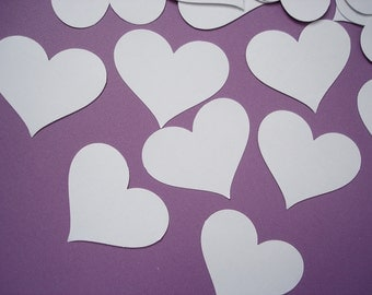 25 Large White Heart punch die cut cutout confetti weddings tags scrapbooking embellishments - No538