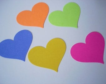 25 Large Bright Colors Heart punch die cut cutout confetti scrapbooking embellishments - No416