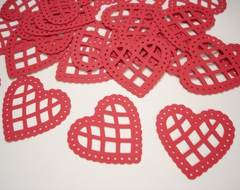 25 Large Red Lace Scalloped Heart punch die cut confetti cutout scrapbooking embellishments - No584