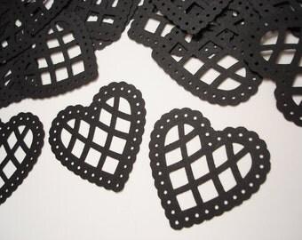 25 Large Black Lace Scalloped Heart Punch, Confetti, Cutouts, Diecut, Embellishments - No585