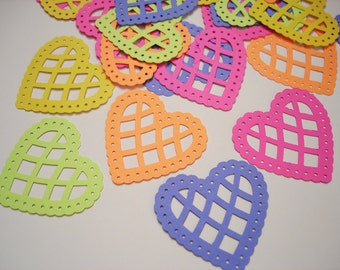 25 Large Bright Lace Scalloped Heart punch die cut  embellishments - No586