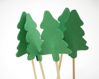 24 Decorative Green Christmas New Year Evergreen Tree Toothpicks Party Picks Food Picks Cupcake Toppers - No351