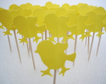 24 Yellow Decorative Chick Party Picks, Toothpicks, Food Picks, Cupcake Toppers - No344