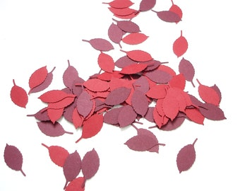 100 Mixed Red Rose leaf punch die cut confetti cutout scrapbooking embellishments - No307