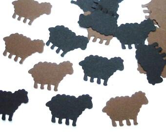 50 Brown and Black Sheep Confetti, Mary had a little lamb party decorations - No467