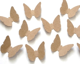 100 Kraft Butterfly punch die cut confetti cutout scrapbooking embellishments - No445