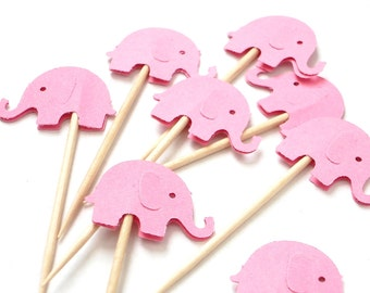 24 Decorative Pink Elephant party picks, toothpicks, food picks, cupcake toppers - No742