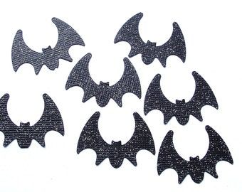 50 Halloween Glittered Black Bat die cut punch confetti scrapbooking embellishments - No208