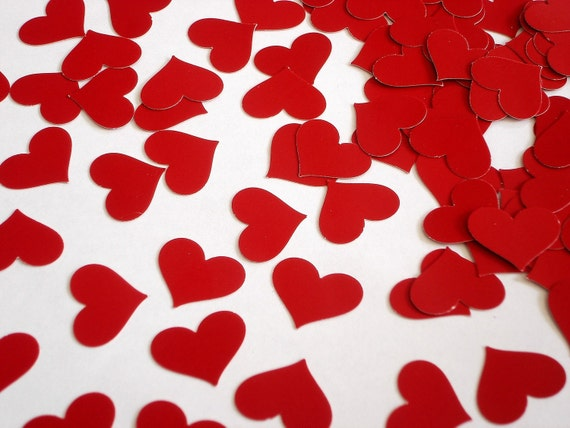 100 Red Heart Confetti, Valentine's Day Party Decorations - No193