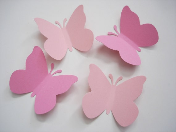 50 Large Mixed Pink Butterfly Punch Confetti Die Cut Embellishments - No331