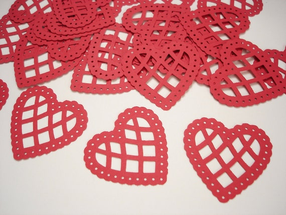 25 Red Lace Scalloped Heart Confetti, Valentine's Day Party Decorations - No584