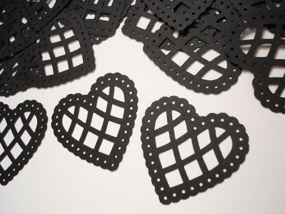 25 Large Black Lace Scalloped Heart Punch, Confetti, Cutouts, Diecut, Embellishments - No585