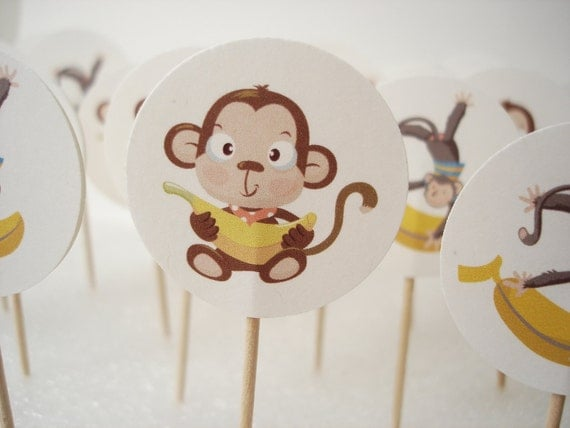 20 Decorative monkey toothpicks party picks cupcake toppers - No826
