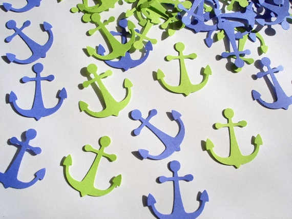 100 Bright Colors Blue Green Anchor punch die cut confetti cutout scrapbooking embellishments - No346