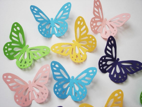 50 Carnival Colors Yellow Pink Green Blue Purple Monarch Butterfly Punch Die Cut Confetti Cutout Scrapbook Embellishments - No901