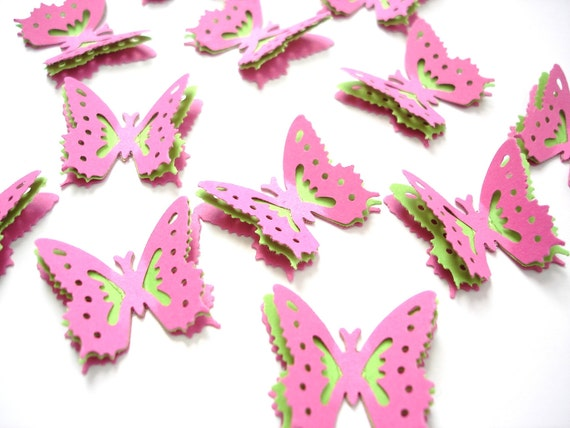 3D Bright Green Pink Royal Butterfly punch, die cut, scrapbooking, card making, tag making, embellishments - Set of 12 - No680