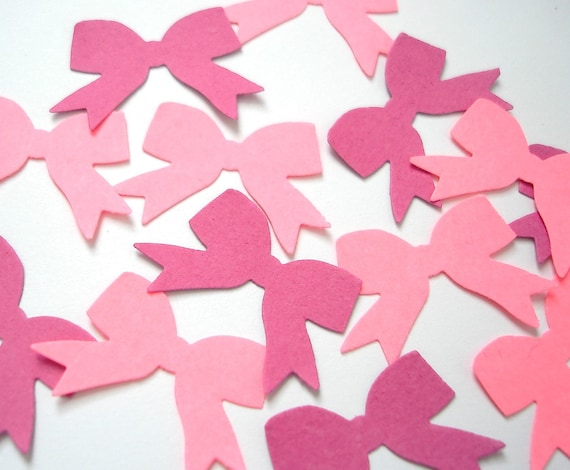 100 Small Mixed Pink Ribbon Bow punch die cut confetti scrapbooking embellishments - No888