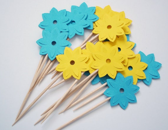 24 Decorative Bright Yellow Blue Water Lily Party Picks, Cupcake Toppers, Food Picks, Toothpicks, Drink Picks - No532