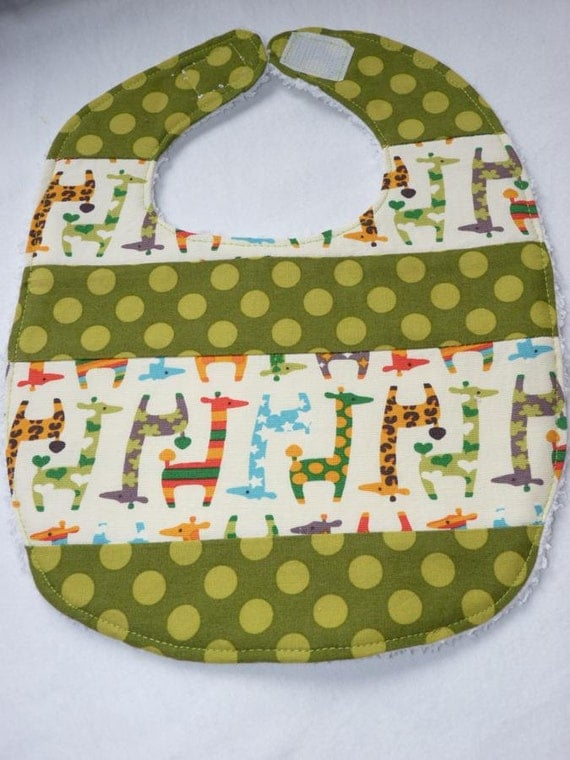 cute giraffes quilted bib