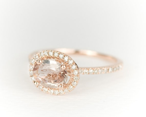 Champagne Oval Sapphire Diamond Halo 14k Rose Gold Ring - SALE